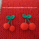 broches Cerezas Ganchillo