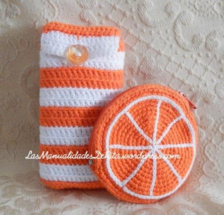 funda panuelos monedero naranja ganchillo