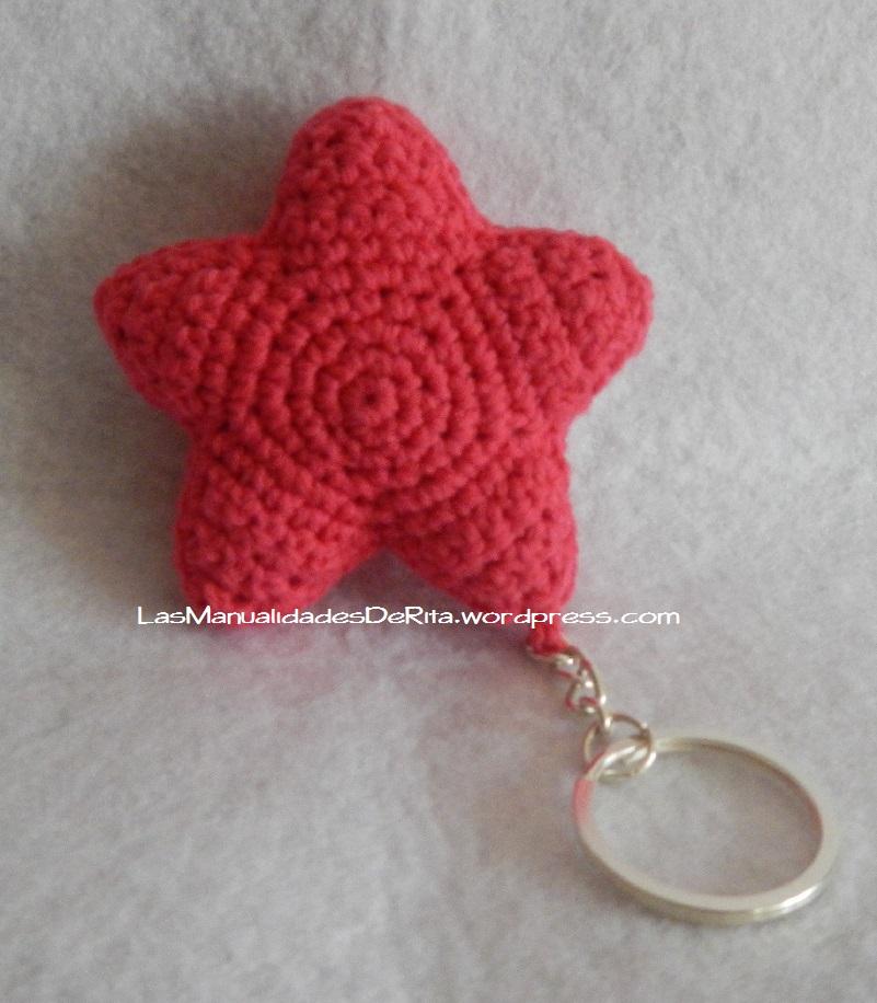 Llavero estrella ganchillo)