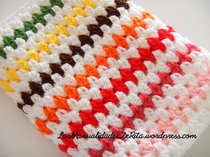 Manta a ganchillo con rombos de colores las manualidades - Mantas lana ganchillo ...