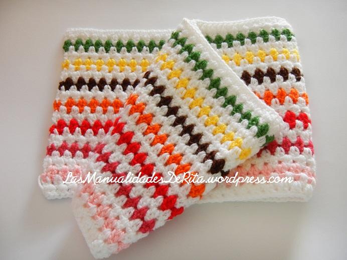 Manta a ganchillo con rombos de colores - Mantas lana ganchillo ...