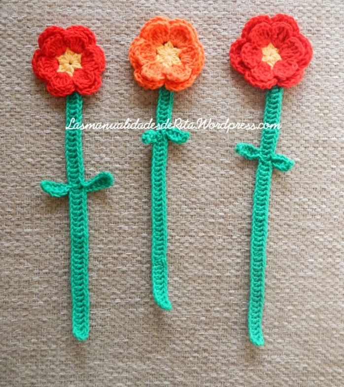 Flor ganchillo Marcapáginas crochet