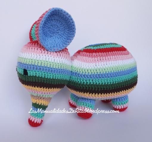 crochet rainbow elephant