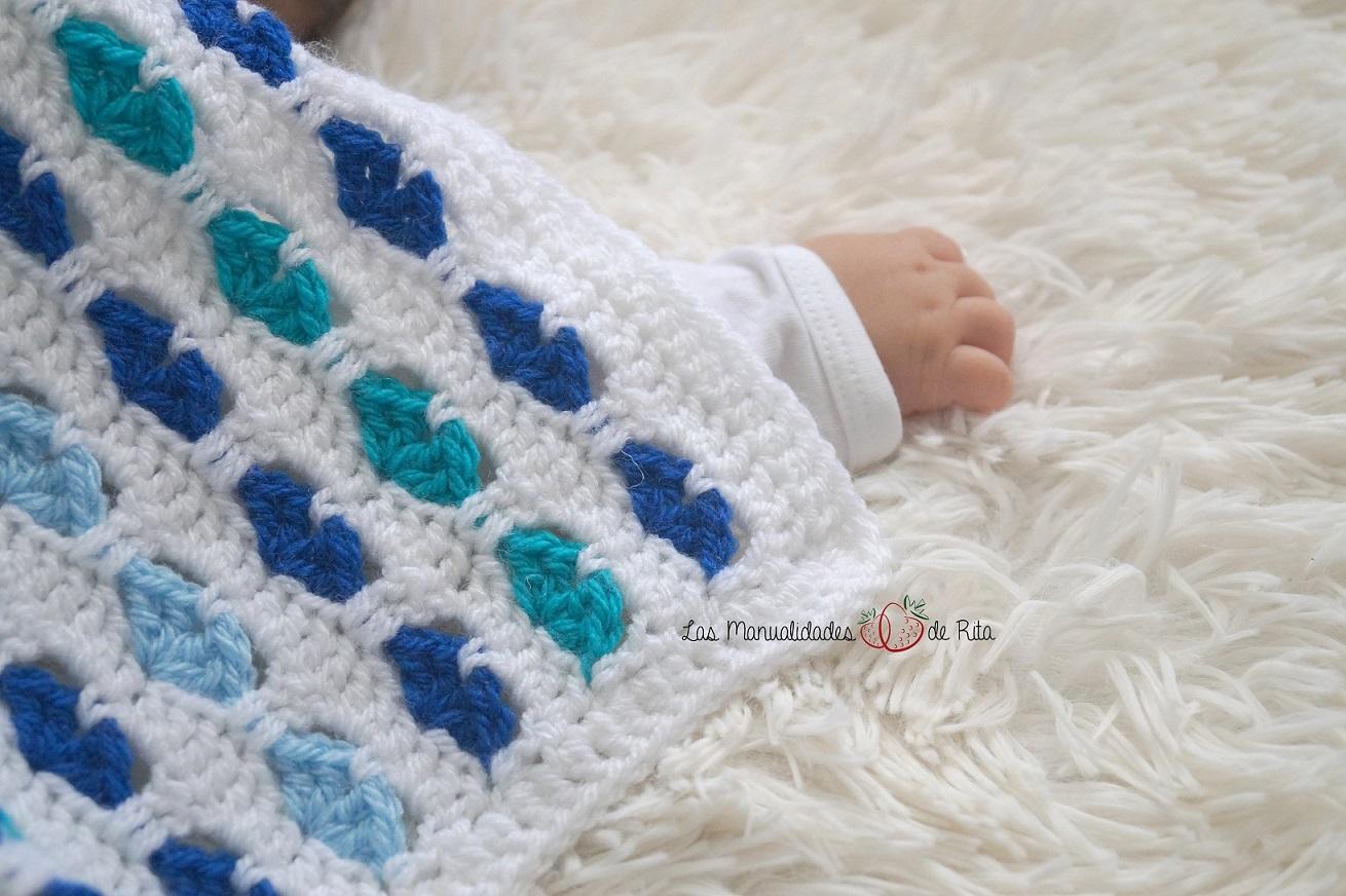 Asombroso Patrón De Manta De Ganchillo Bebé Del Corazón Friso ...