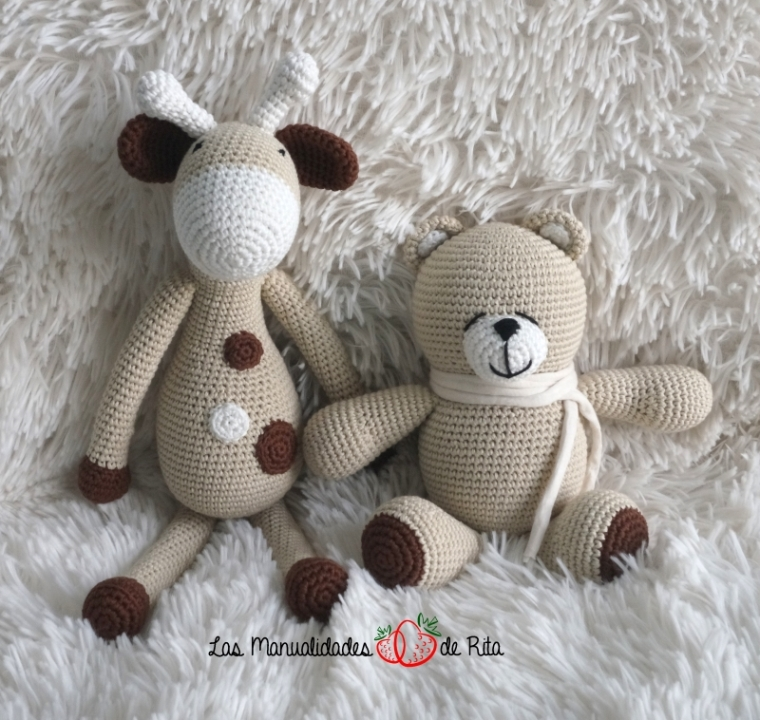 Jirafa y oso ammigurumi
