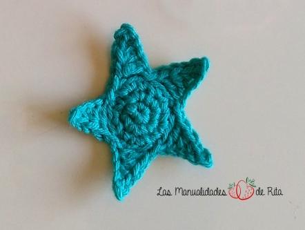 estrella ganchillo verde
